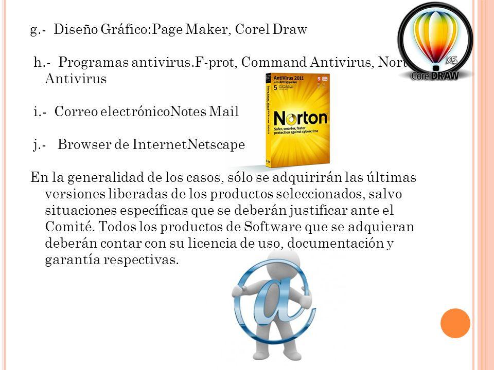 g.- Diseño Gráfico:Page Maker, Corel Draw