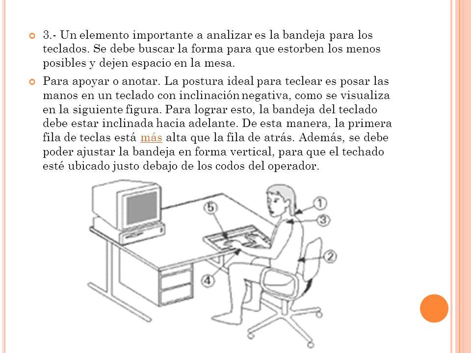 3. - Un elemento importante a analizar es la bandeja para los teclados