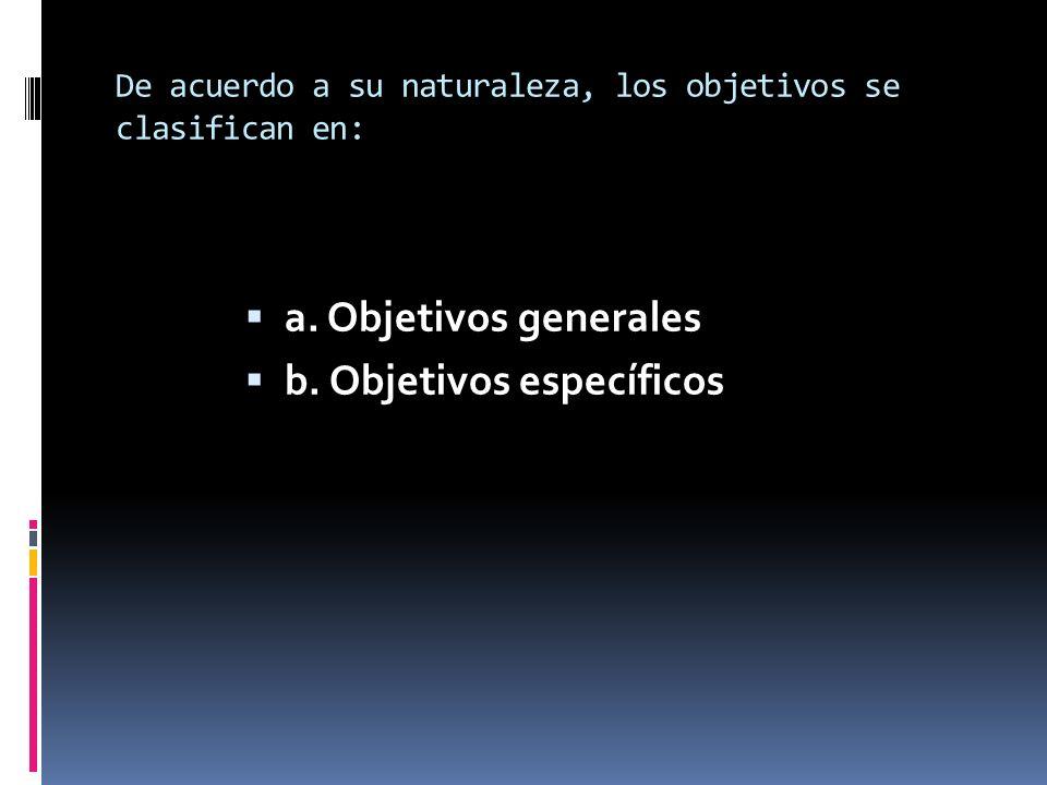 De acuerdo a su naturaleza, los objetivos se clasifican en: