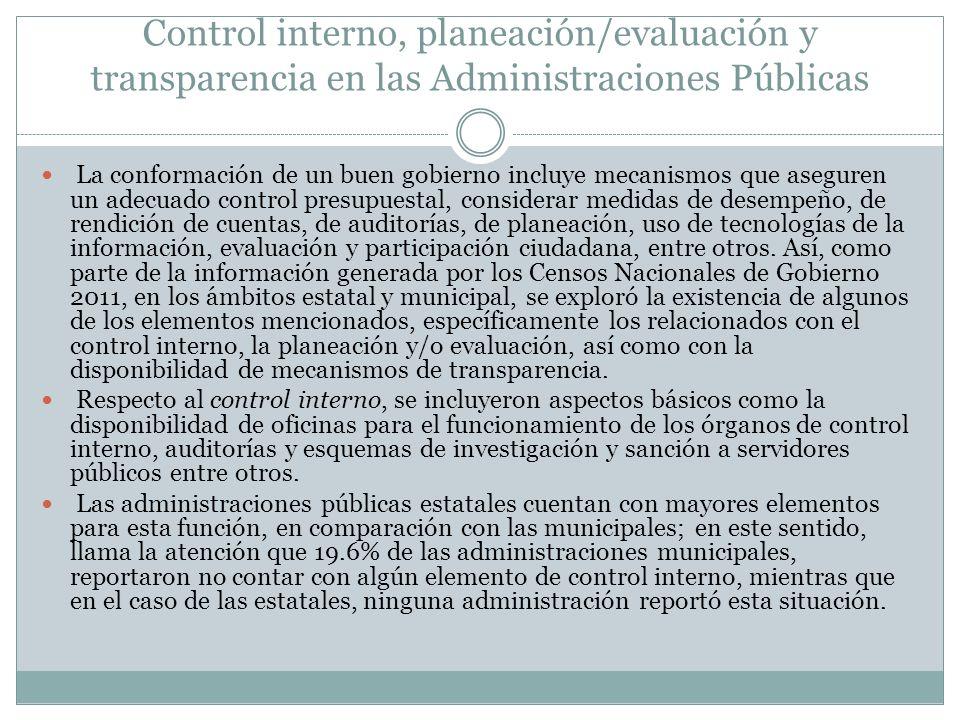 Control interno, planeación/evaluación y transparencia en las Administraciones Públicas