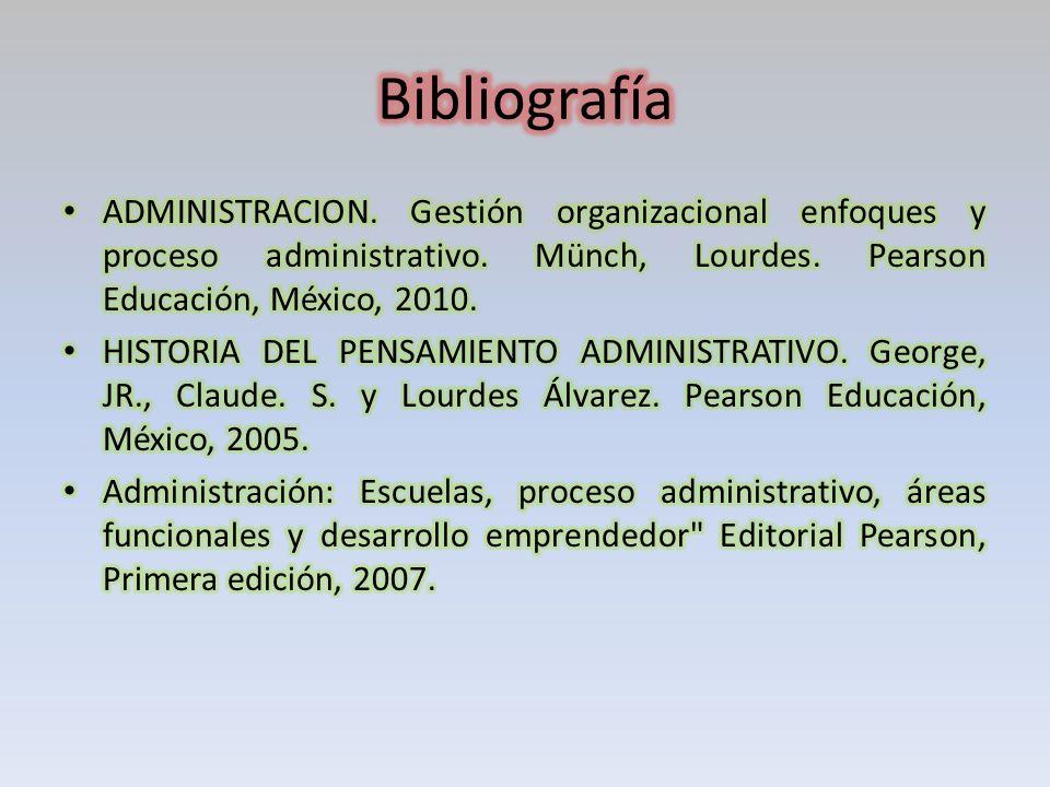 Bibliografía ADMINISTRACION. Gestión organizacional enfoques y proceso administrativo. Münch, Lourdes. Pearson Educación, México, 2010.