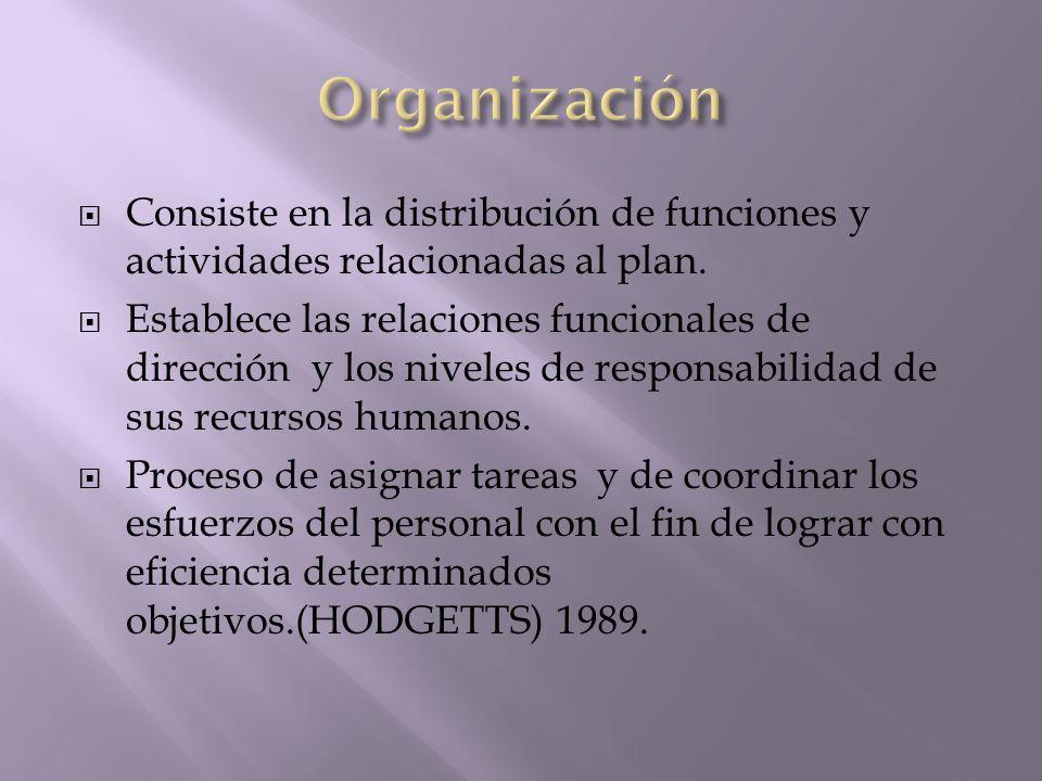 Organización Consiste en la distribución de funciones y actividades relacionadas al plan.