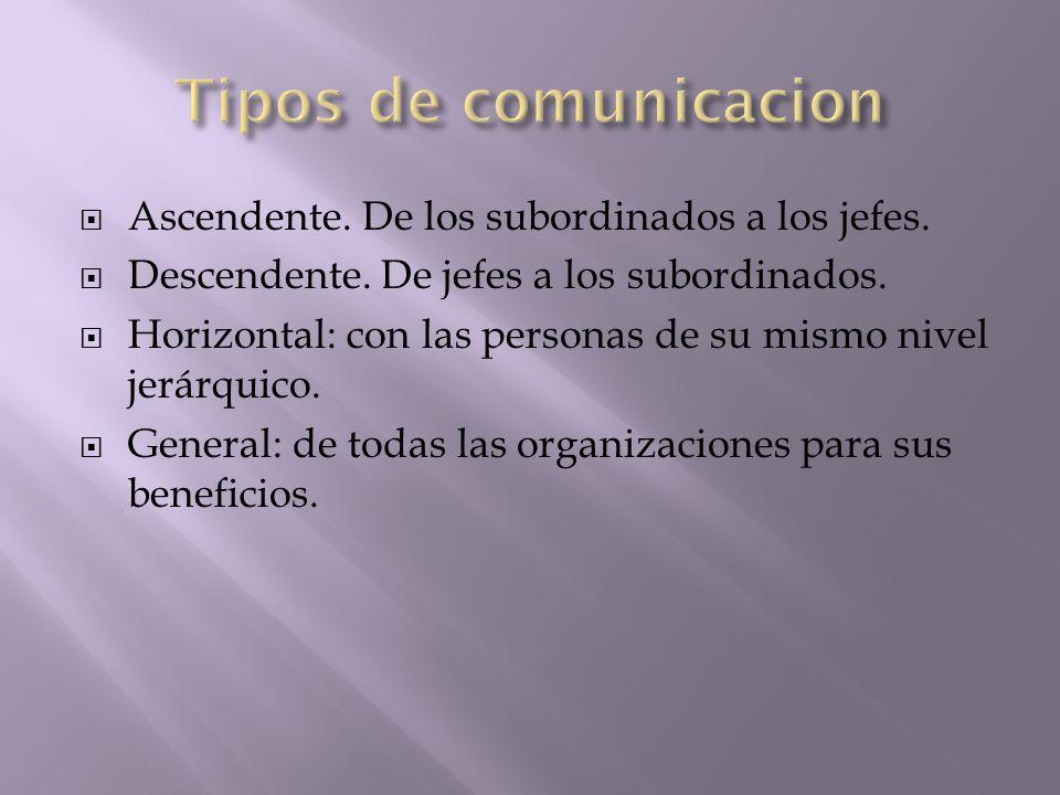 Tipos de comunicacion Ascendente. De los subordinados a los jefes.