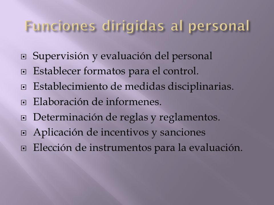 Funciones dirigidas al personal