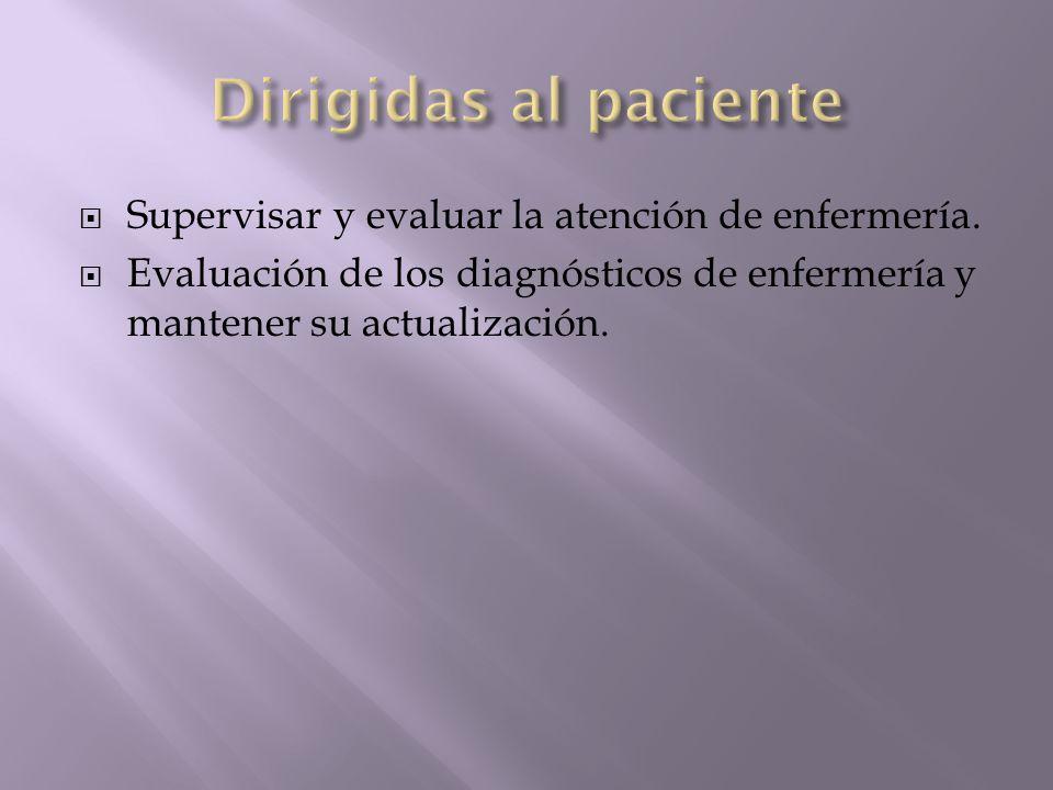 Dirigidas al paciente Supervisar y evaluar la atención de enfermería.