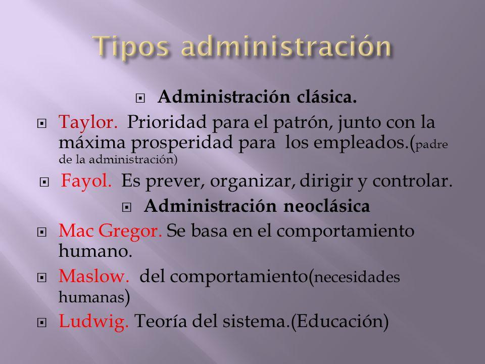 Tipos administración Administración clásica.