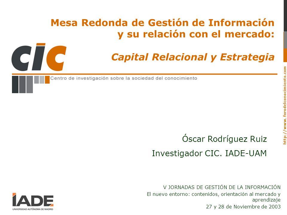 Mesa Redonda de Gestión de Información y su relación con el mercado: Capital Relacional y Estrategia