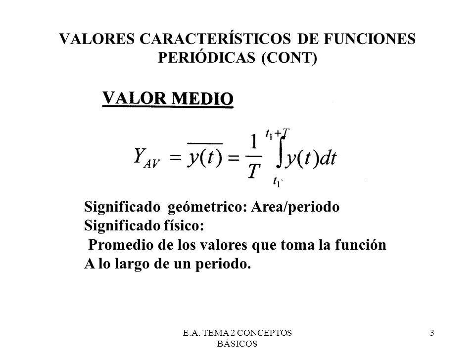 VALORES CARACTERÍSTICOS DE FUNCIONES PERIÓDICAS (CONT)