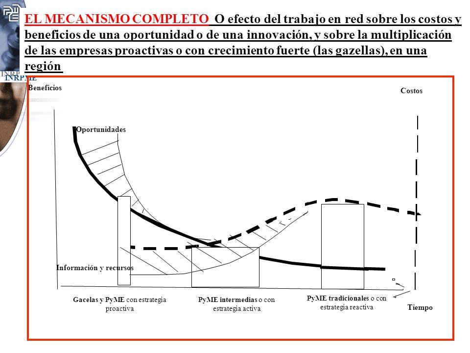 EL MECANISMO COMPLETO O efecto del trabajo en red sobre los costos y beneficios de una oportunidad o de una innovación, y sobre la multiplicación de las empresas proactivas o con crecimiento fuerte (las gazellas), en una región