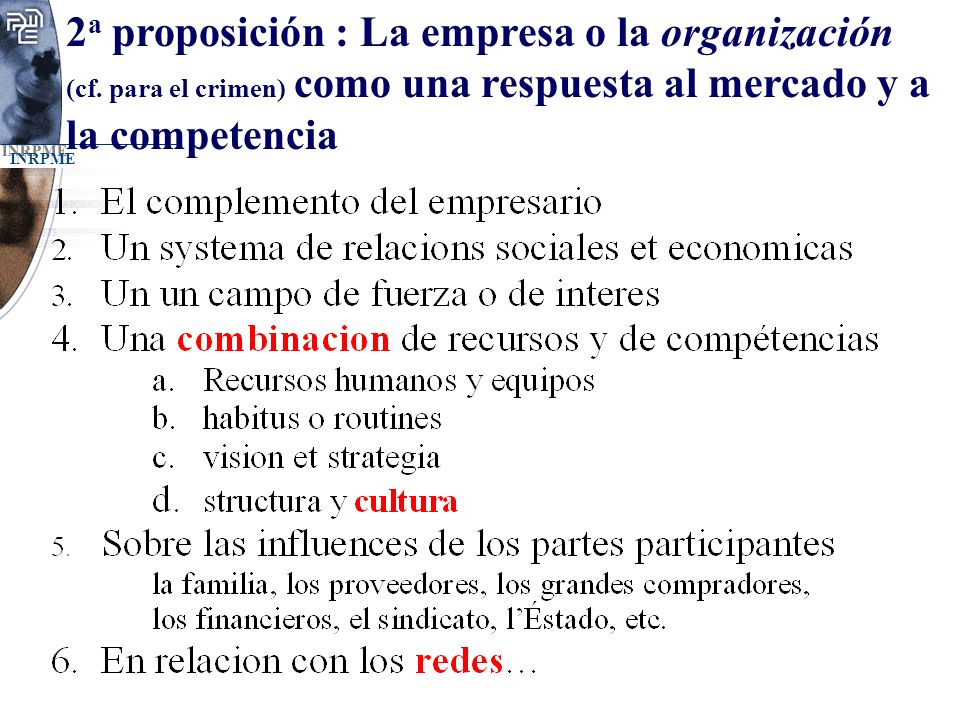 2a proposición : La empresa o la organización (cf