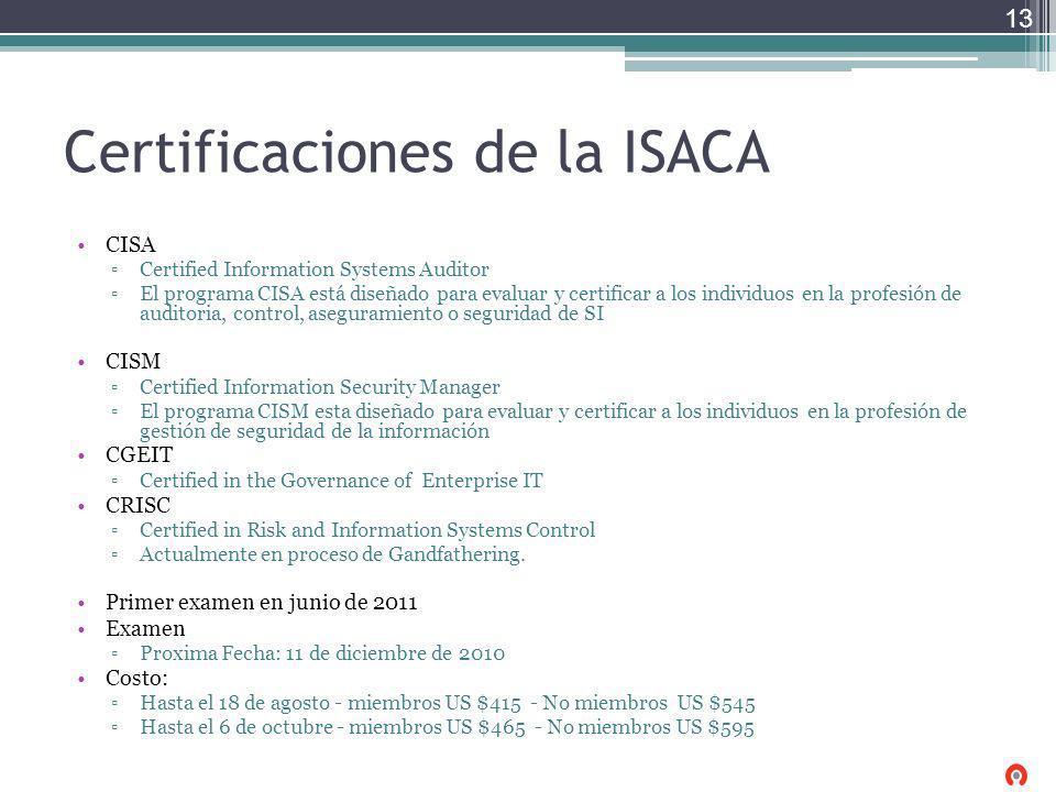 Certificaciones de la ISACA