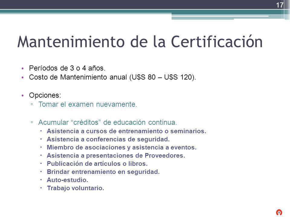 Mantenimiento de la Certificación