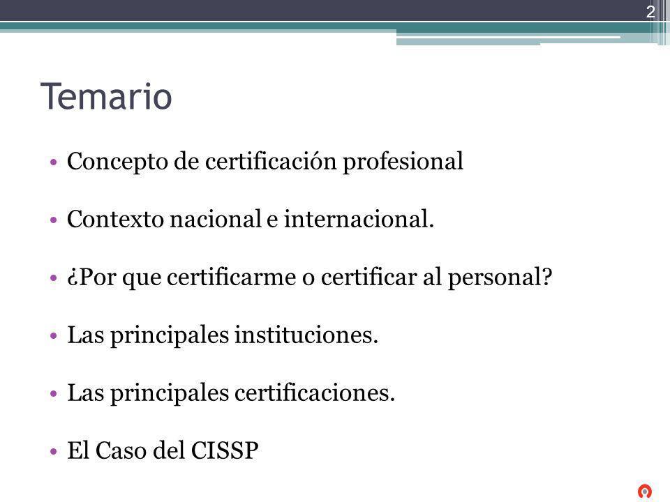 Temario Concepto de certificación profesional