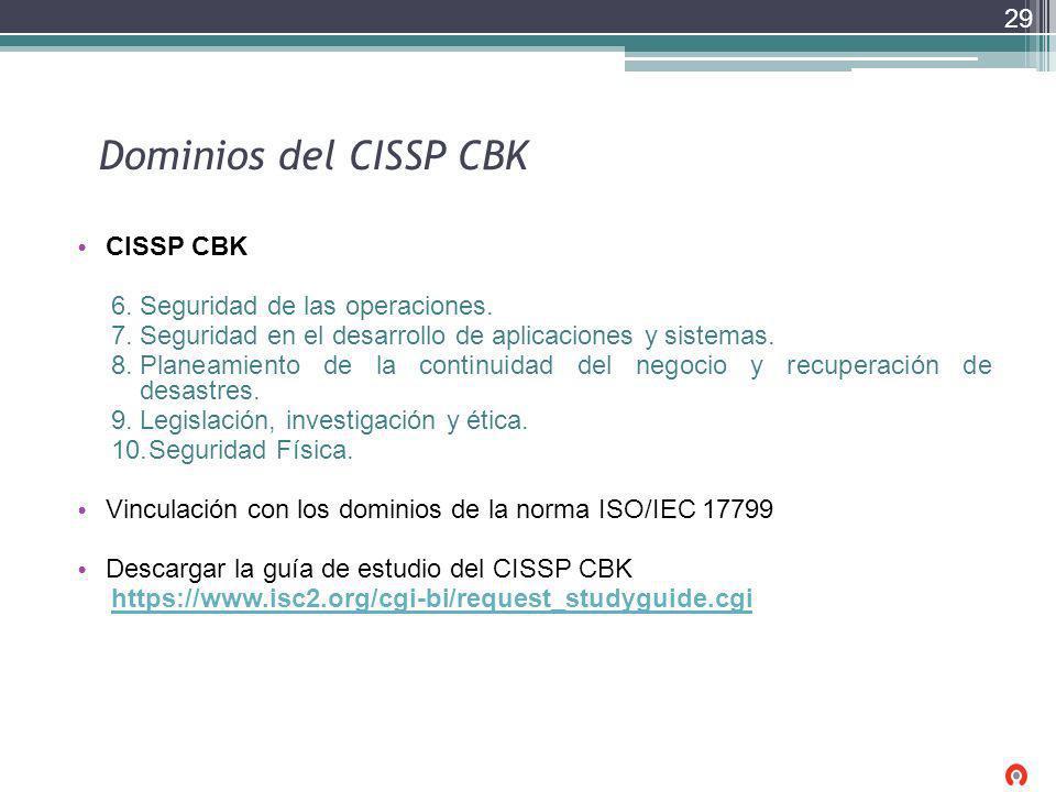 Dominios del CISSP CBK CISSP CBK Seguridad de las operaciones.