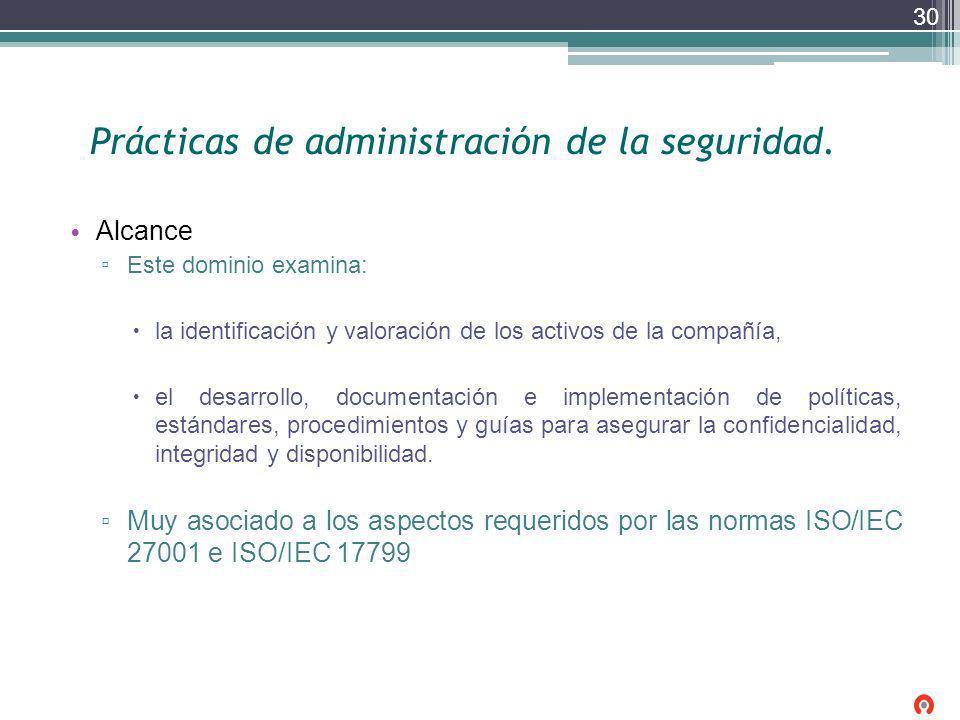 Prácticas de administración de la seguridad.