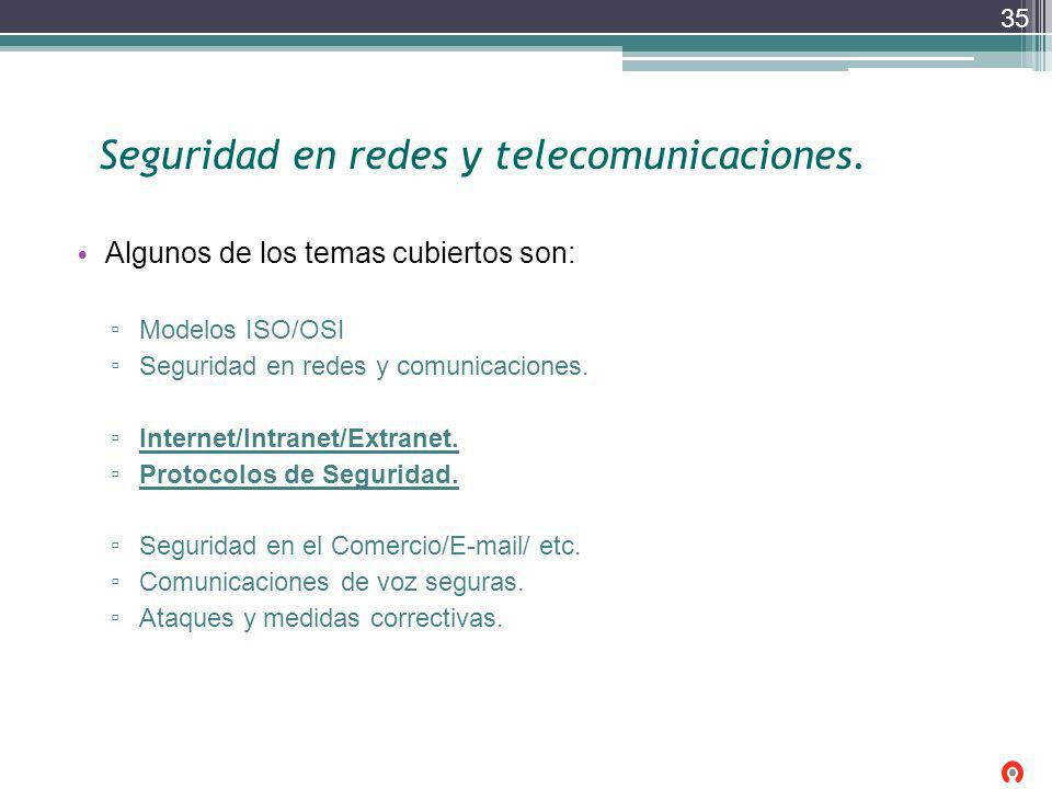 Seguridad en redes y telecomunicaciones.