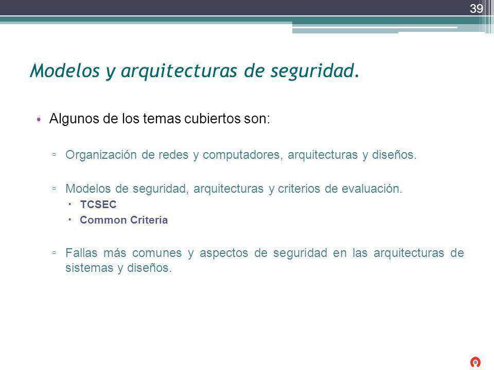 Modelos y arquitecturas de seguridad.