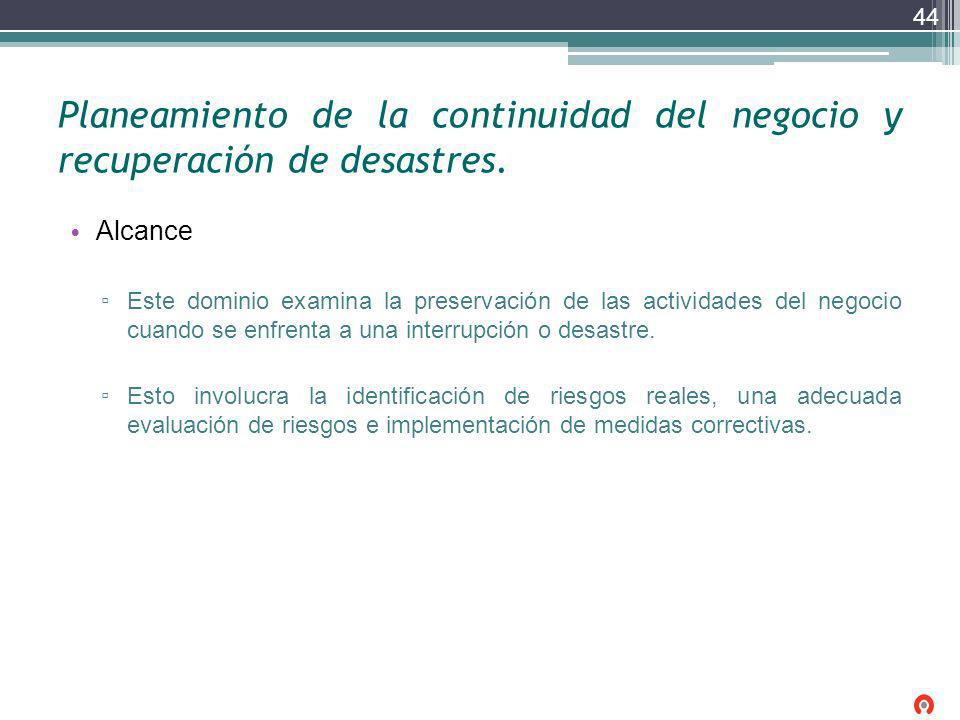 Planeamiento de la continuidad del negocio y recuperación de desastres.
