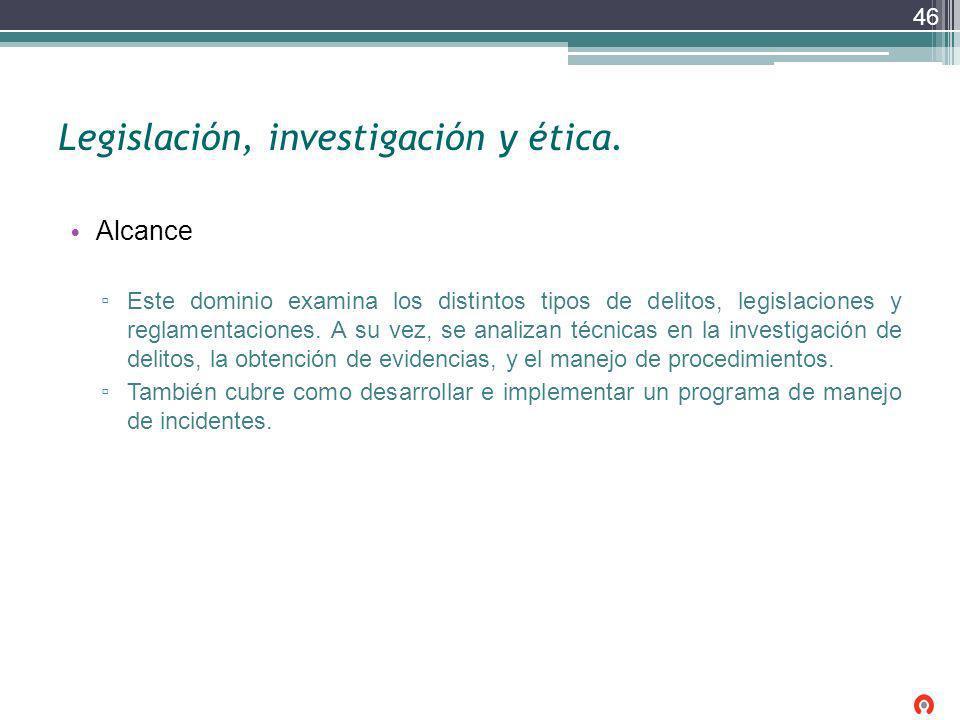 Legislación, investigación y ética.