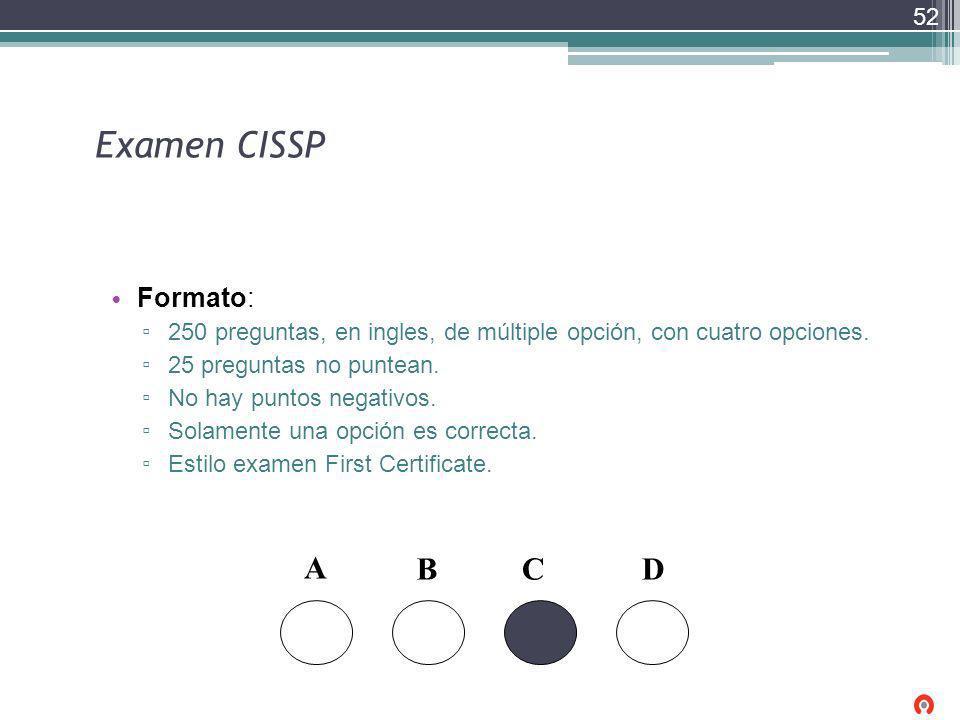 Examen CISSP A B C D Formato: