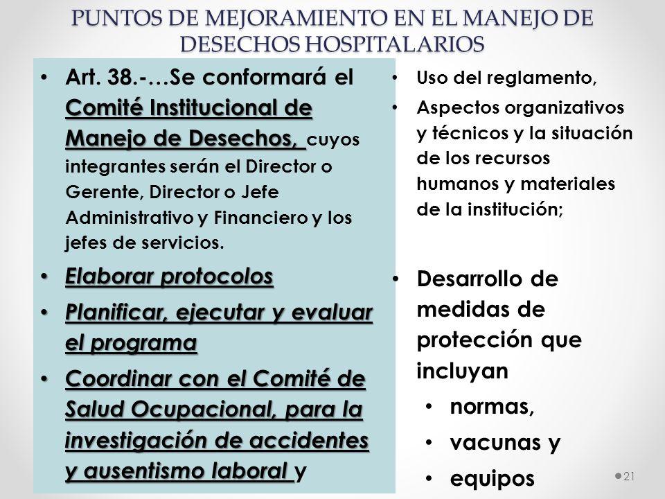 PUNTOS DE MEJORAMIENTO EN EL MANEJO DE DESECHOS HOSPITALARIOS