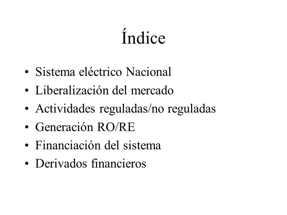Índice Sistema eléctrico Nacional Liberalización del mercado
