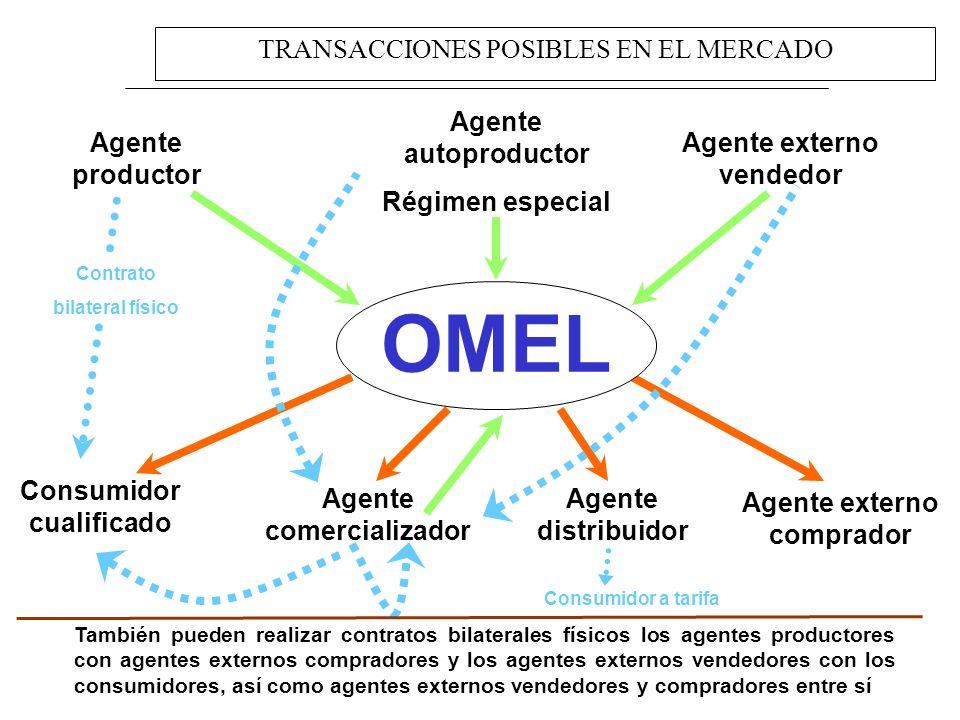 OMEL TRANSACCIONES POSIBLES EN EL MERCADO Agente autoproductor