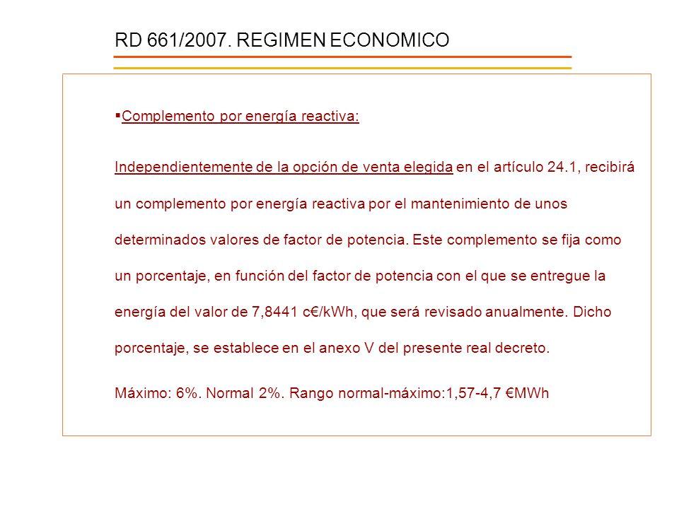 RD 661/2007. REGIMEN ECONOMICO Complemento por energía reactiva: