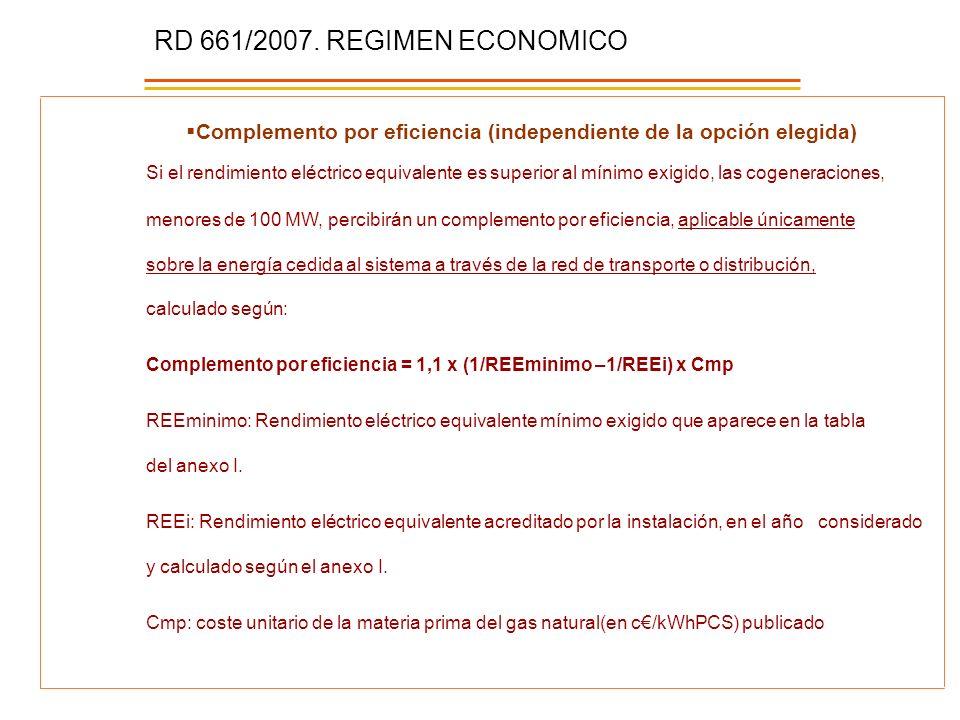 RD 661/2007. REGIMEN ECONOMICO Complemento por eficiencia (independiente de la opción elegida)
