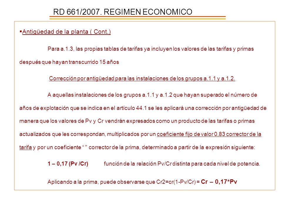 RD 661/2007. REGIMEN ECONOMICO Antigüedad de la planta ( Cont.)