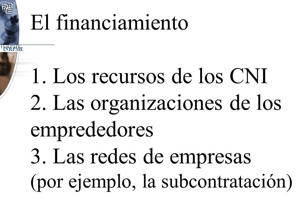 El financiamiento 1. Los recursos de los CNI 2