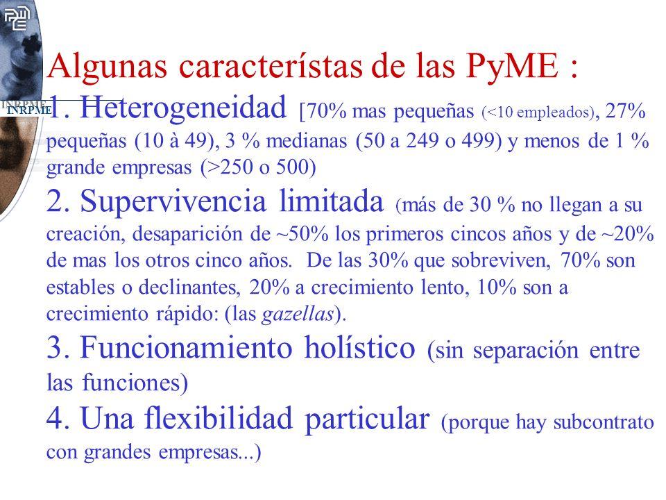 Algunas característas de las PyME : 1