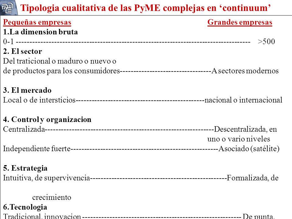 Tipologia cualitativa de las PyME complejas en 'continuum'