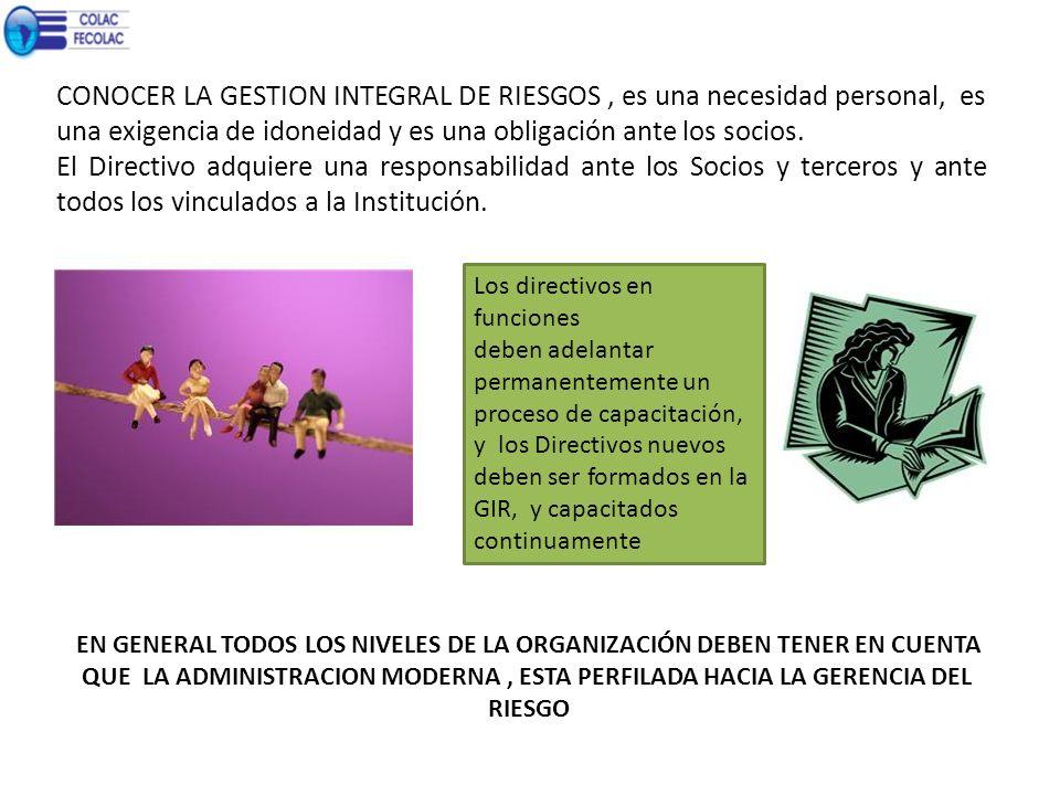 CONOCER LA GESTION INTEGRAL DE RIESGOS , es una necesidad personal, es una exigencia de idoneidad y es una obligación ante los socios.