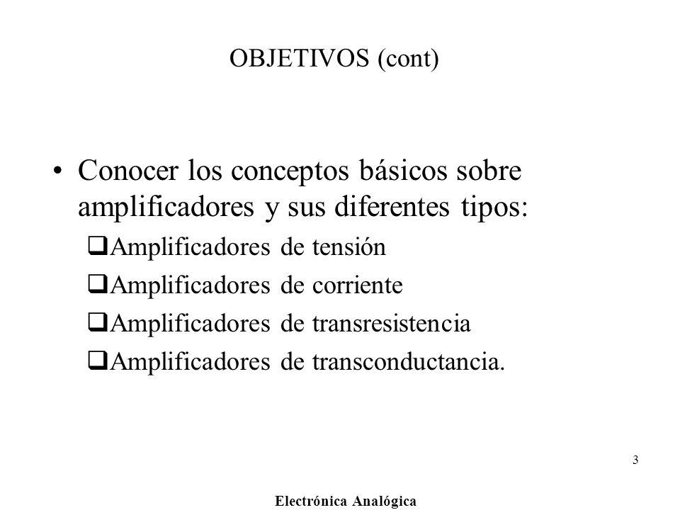 OBJETIVOS (cont) Conocer los conceptos básicos sobre amplificadores y sus diferentes tipos: Amplificadores de tensión.