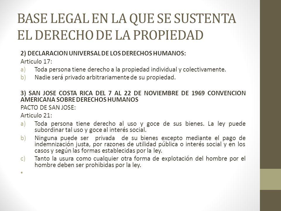 BASE LEGAL EN LA QUE SE SUSTENTA EL DERECHO DE LA PROPIEDAD