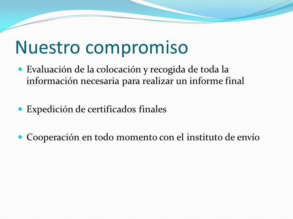 Nuestro compromiso Evaluación de la colocación y recogida de toda la información necesaria para realizar un informe final.