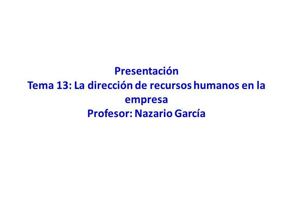 Presentación Tema 13: La dirección de recursos humanos en la empresa Profesor: Nazario García