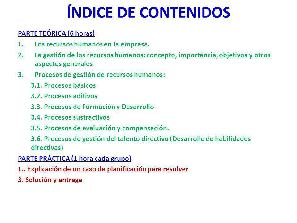 ÍNDICE DE CONTENIDOS PARTE TEÓRICA (6 horas)