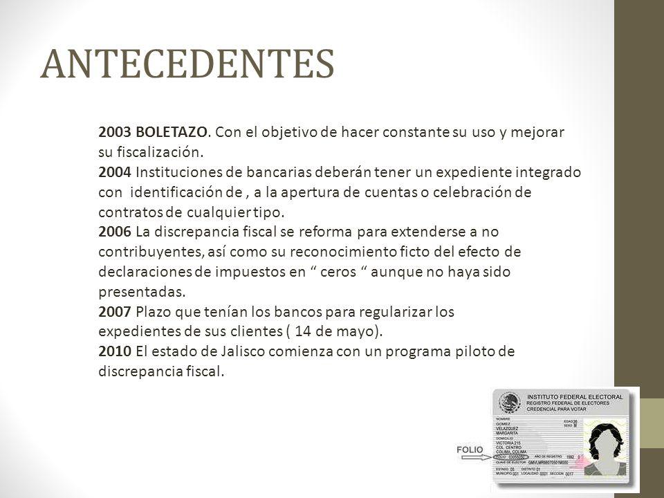 ANTECEDENTES 2003 BOLETAZO. Con el objetivo de hacer constante su uso y mejorar su fiscalización.