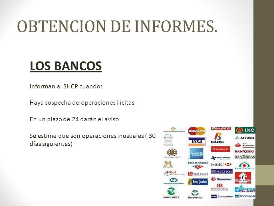 OBTENCION DE INFORMES. LOS BANCOS Informan al SHCP cuando: