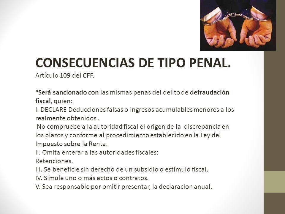 CONSECUENCIAS DE TIPO PENAL.