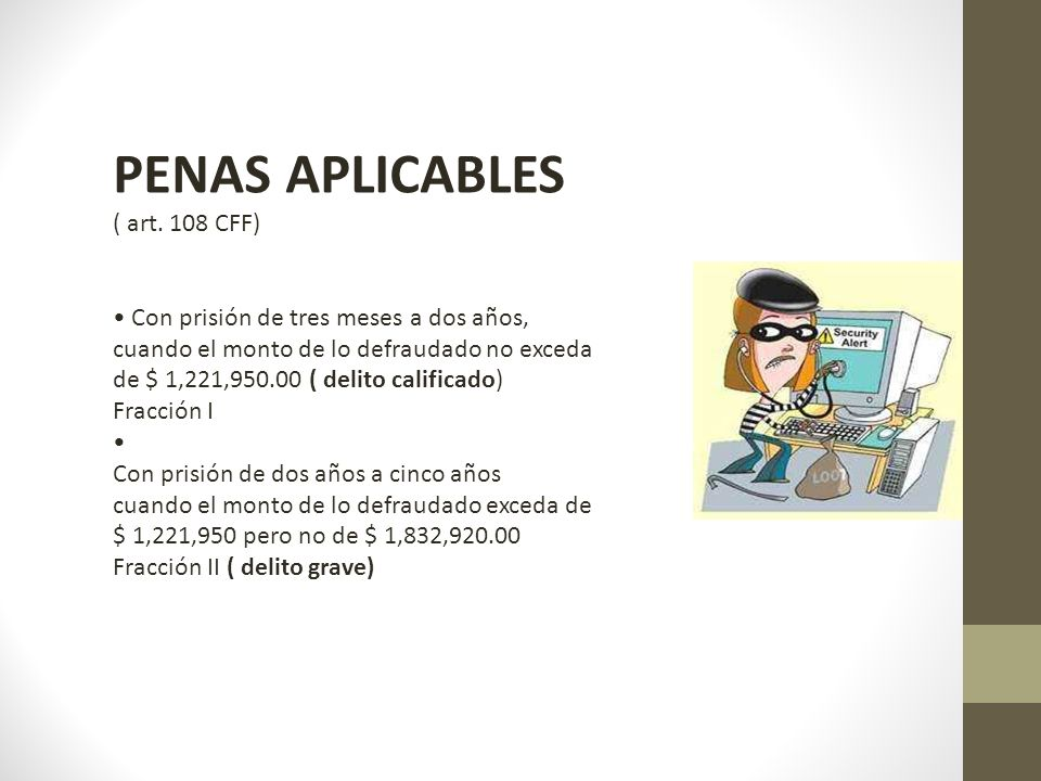 PENAS APLICABLES ( art. 108 CFF)