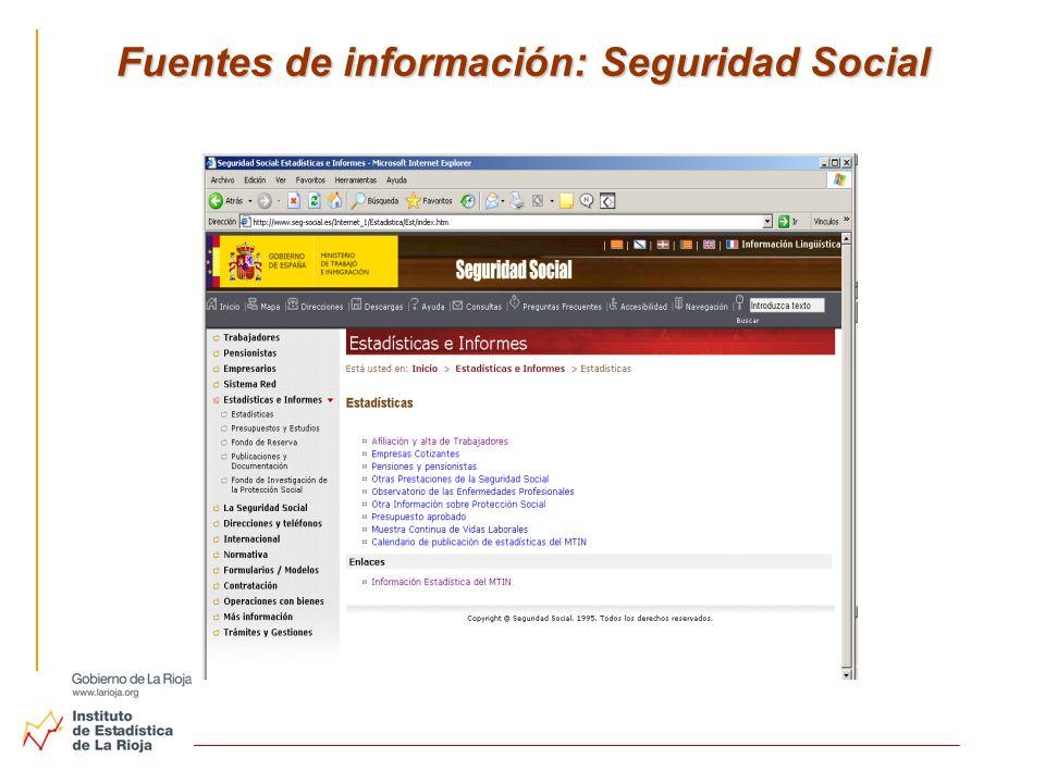 Fuentes de información: Seguridad Social