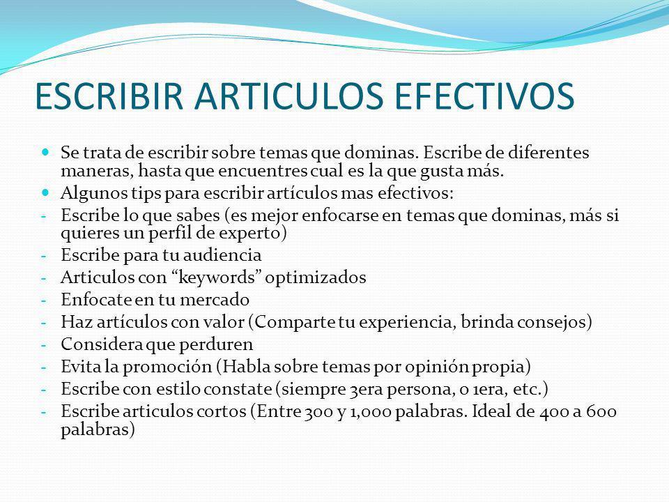 ESCRIBIR ARTICULOS EFECTIVOS