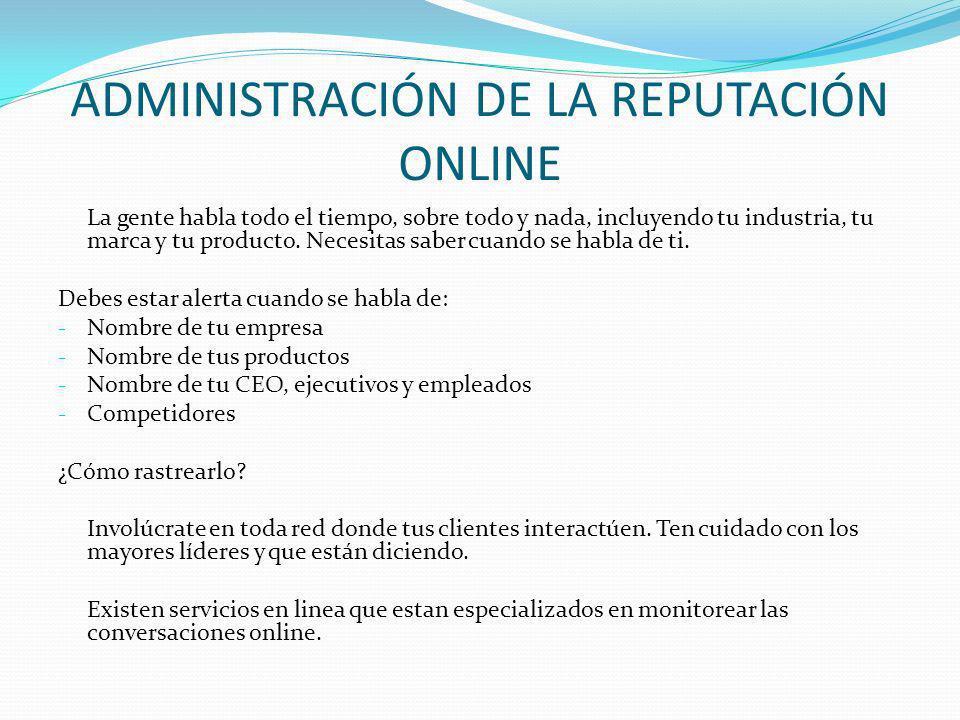 ADMINISTRACIÓN DE LA REPUTACIÓN ONLINE