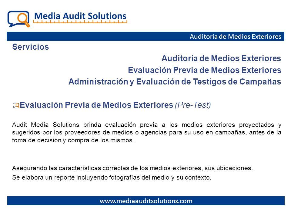 Auditoria de Medios Exteriores Evaluación Previa de Medios Exteriores