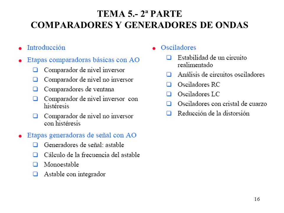 TEMA 5.- 2ª PARTE COMPARADORES Y GENERADORES DE ONDAS