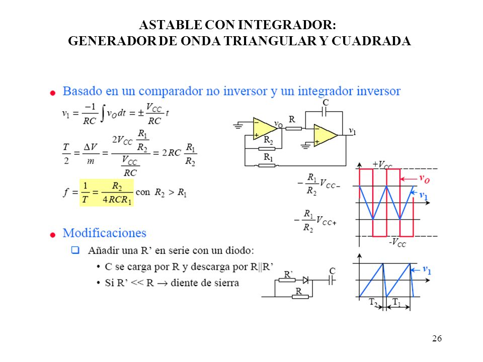 ASTABLE CON INTEGRADOR: GENERADOR DE ONDA TRIANGULAR Y CUADRADA