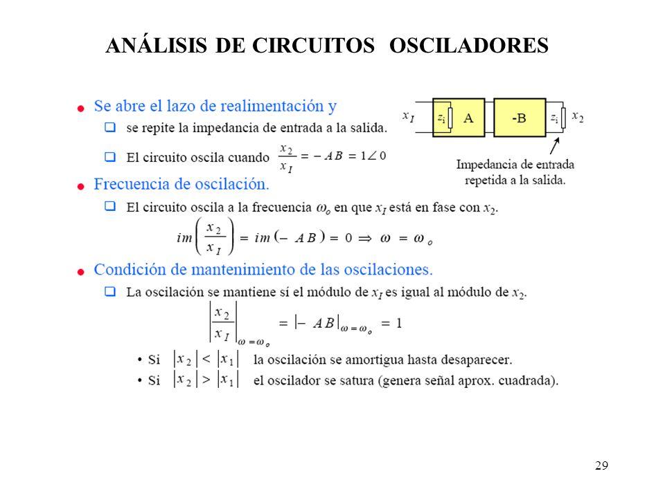 ANÁLISIS DE CIRCUITOS OSCILADORES